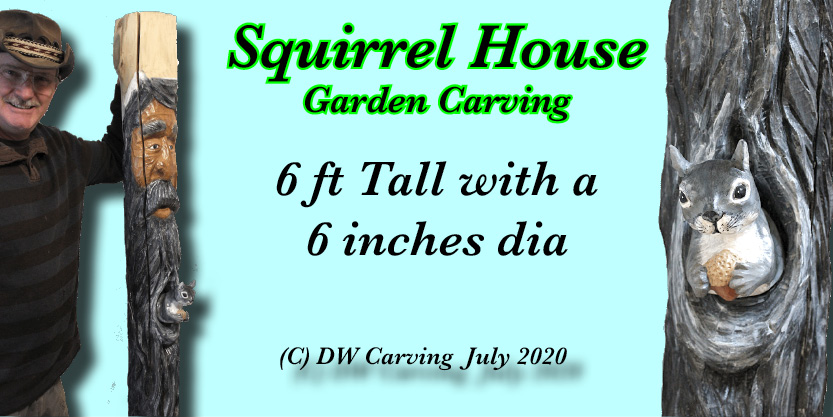 Squirrel House Carving garden sculpture, tree spirit, wood sculpture, carved wood garden art