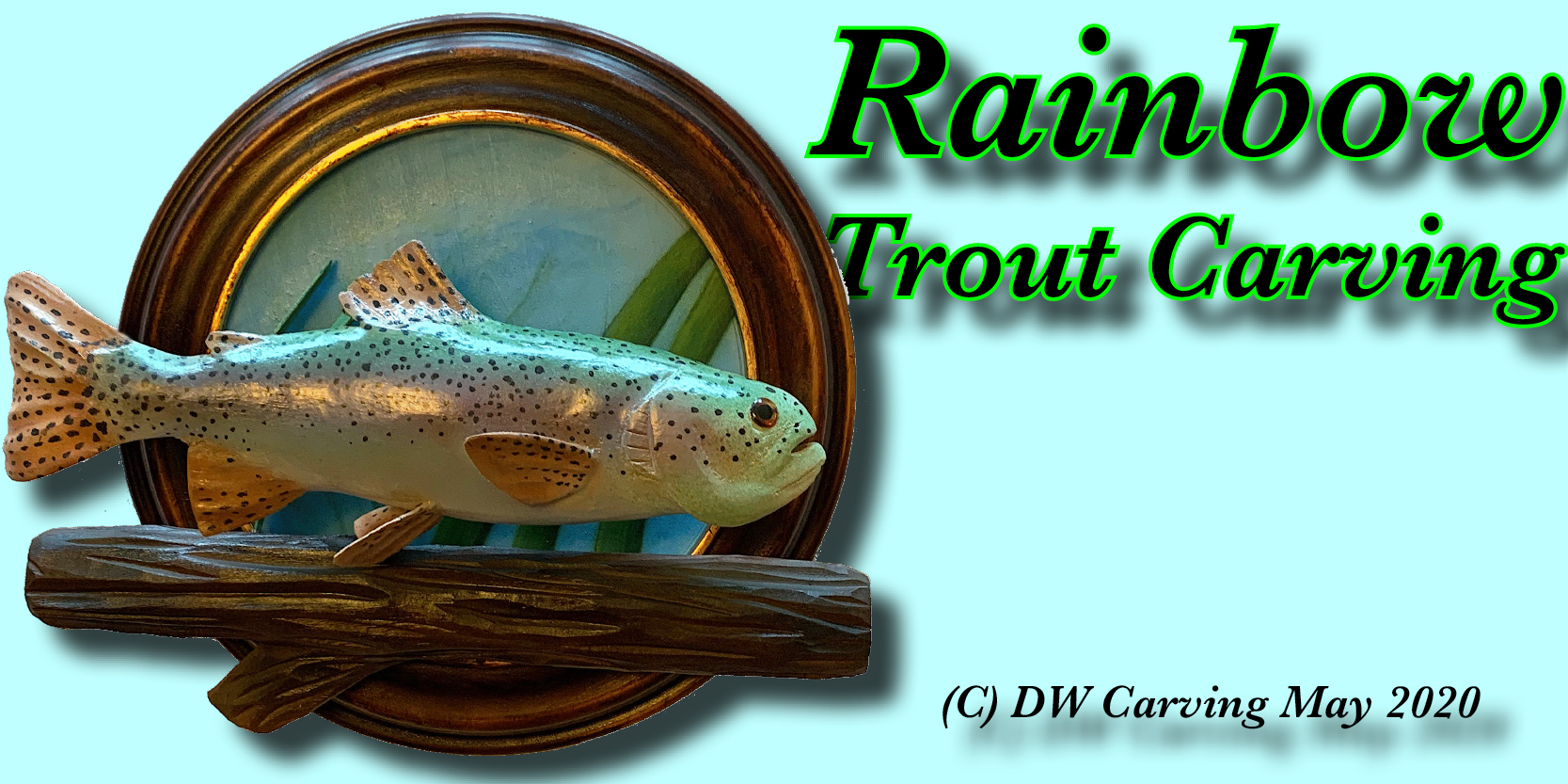 Carved Rainbow Trout, carved wildlife,fish