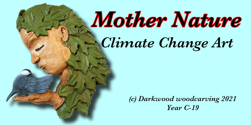 Climate Change Art, climate change sculpture, mother earth, mother nature carving