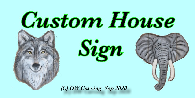 Custom House Sign, woodcarving, wall carving
