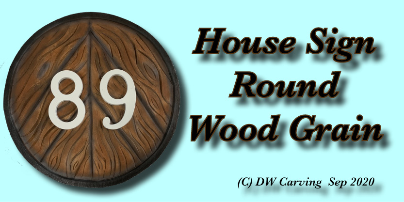 Carved Round Wood Grain House Sign, house sign, wall art, architural woodcarvings