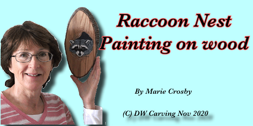 Raccoon Nest Painted on Oak