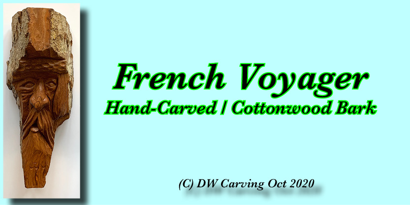 Carved Cottonwood Bark French Voager
