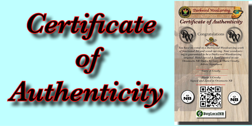 Certificate of Authenticity woodcarving furniture carvings