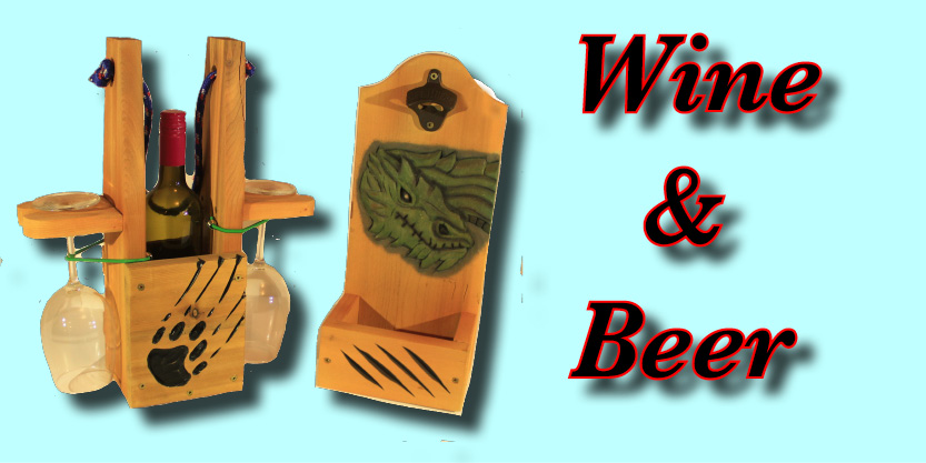 Wine caddy, beer caddy, beer opener, green dragon