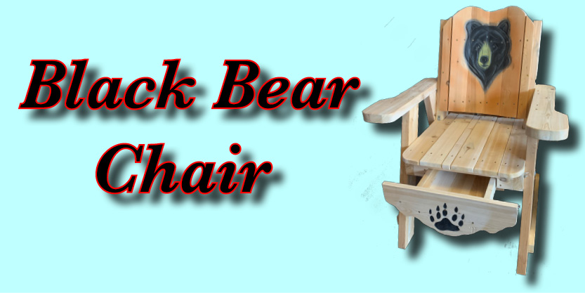 black bear deck chair, garden chair, black bear carving