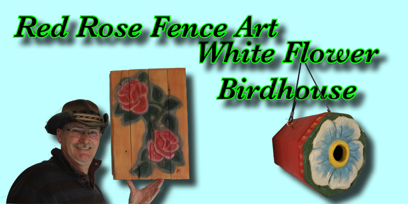 garden art, sparrow birdhouse, fence art