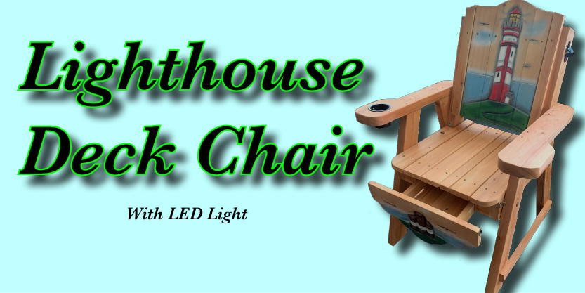 Lighthouse Carved Deck chair, garden chair, ceder chair, deck chair